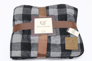 C.C Home Buffalo Check Sherpa Lined Throw - Grey