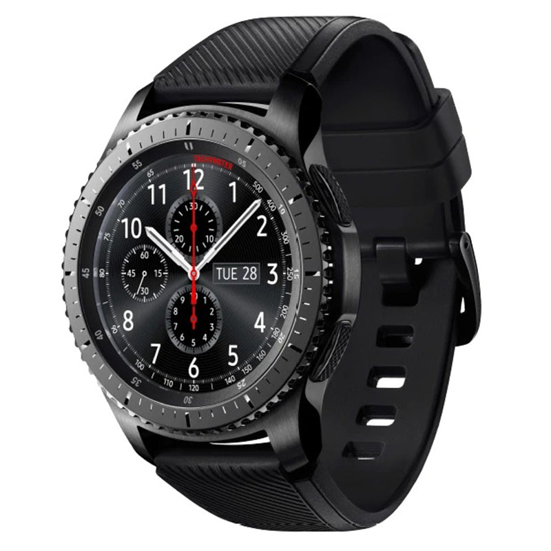 SAMSUNG Gear S3 Frontier Smartwatch (22 mm, Korpus: Space Gray, Silikon-Armband: Blue Black)