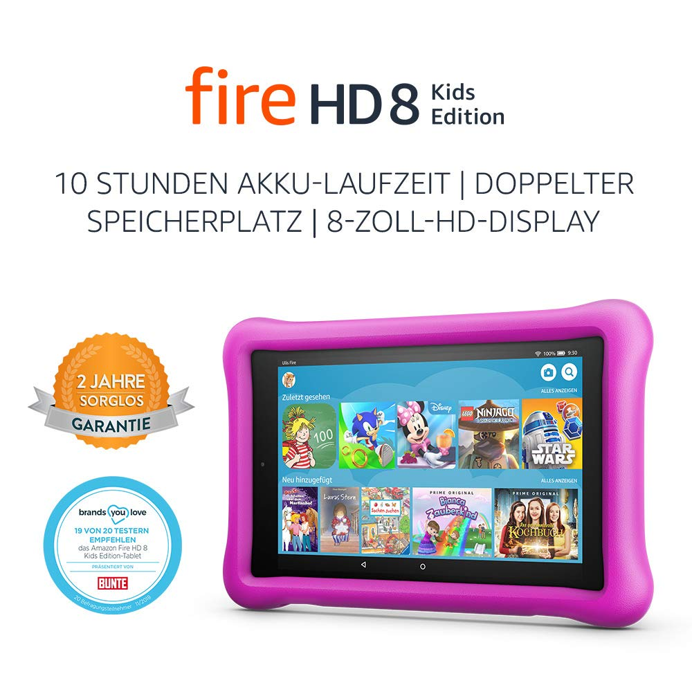 Fire HD 8 Kids Edition-Tablet, 8-Zoll-HD-Display, 32 GB, pinke kindgerechte Hülle