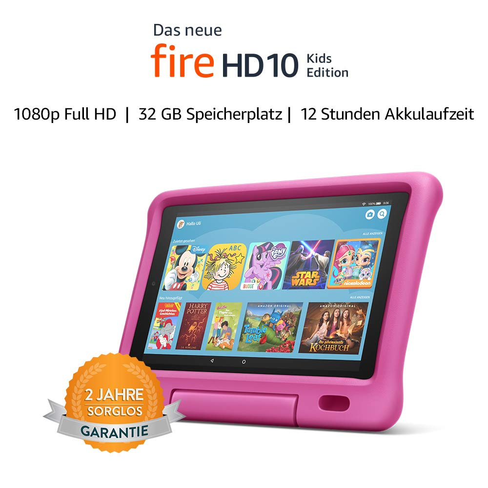 Das neue Fire HD 10 Kids Edition-Tablet |10,1 Zoll, 1080p Full HD-Display, 32 GB, pinke kindgerechte Hülle