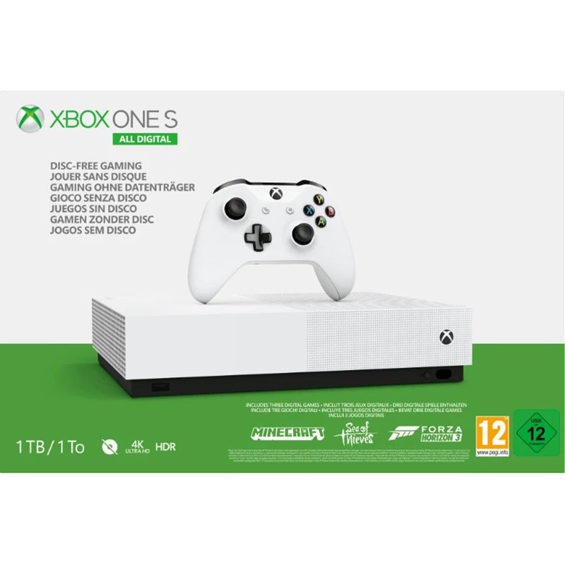 Xbox One S 1TB All-Digital Edition Bundle - Spielkonsole - Weiss (inklusive Sea of Thieves, Minecraft, Forza Horizon 3)