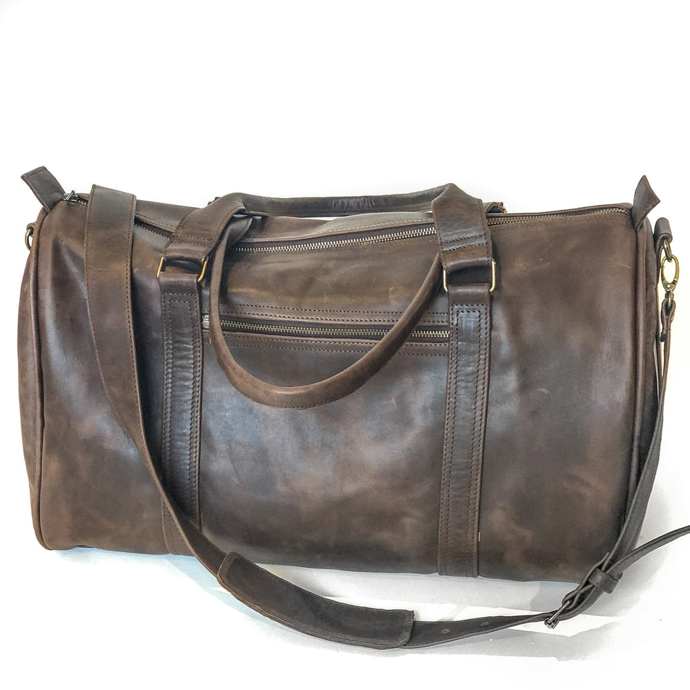 genuine leather brown duffel bag overnight bag