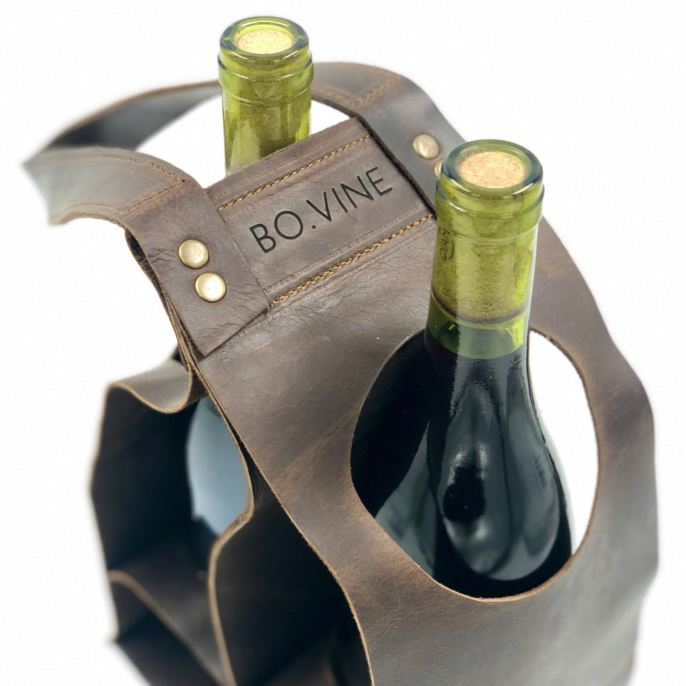 wine carrier | leather wine caddy | bovine leather
