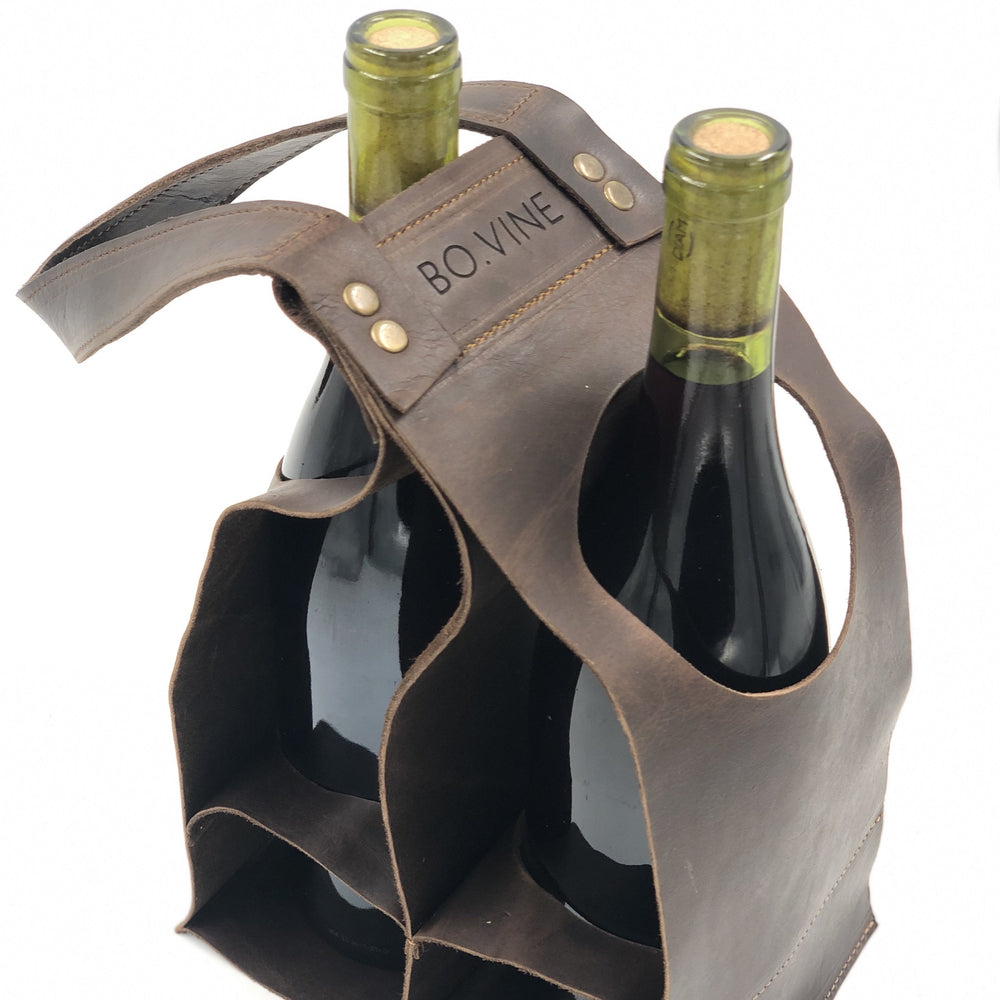 leather wine caddy | wine holder | bovine leather