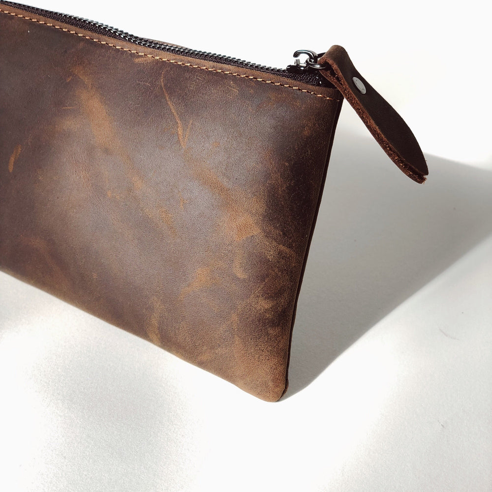 Sleek Leather Zip Pouch - Bovine Leather