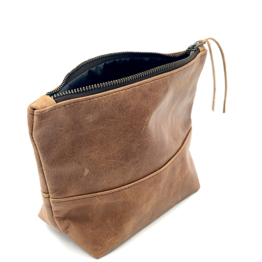 Leather Makeup Bag/Toiletry Bag - Bovine Leather