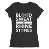 Blood, Sweat, and Rhinestones Form-Fitting T-Shirt