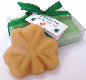 Shamrock-shaped maple candy