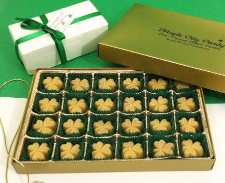 Open candy shamrocks gift box