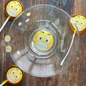 Edible Hard Candy Sugar Art Drops Quarantine Face Mask Emoji