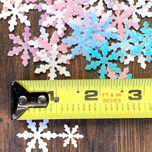 "Large 1"" Edible Wafer Snowflakes Infused with Edible Glitter"