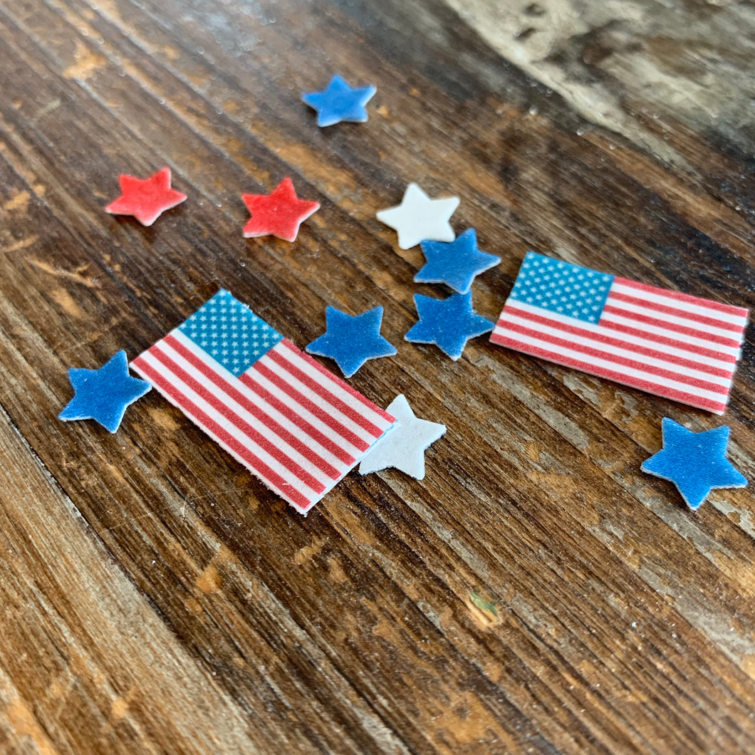 Mini Edible Flags & Stars Patriot Drink Details