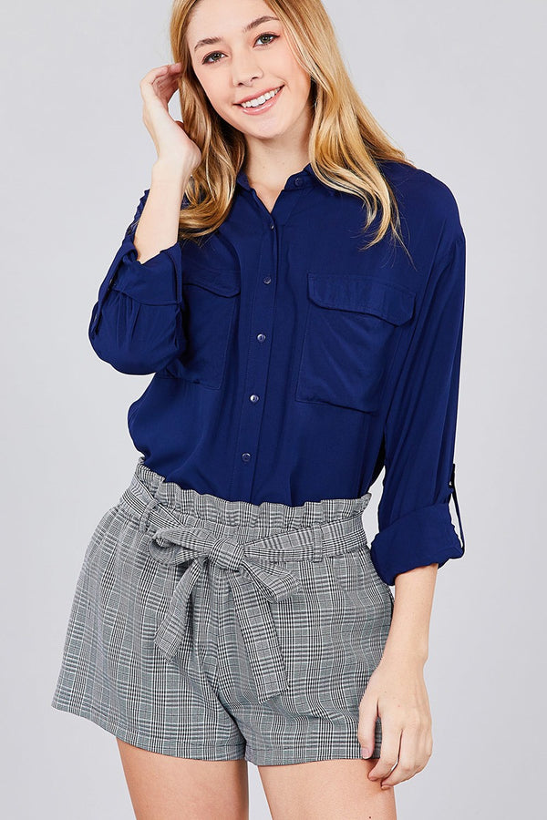 3/4 Roll Up Sleeve Chest Flap Pocket Woven Shirts - Elite5999.com