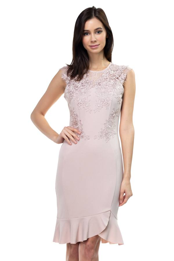 Lace Embroidered Ruffle Dress - Elite5999.com