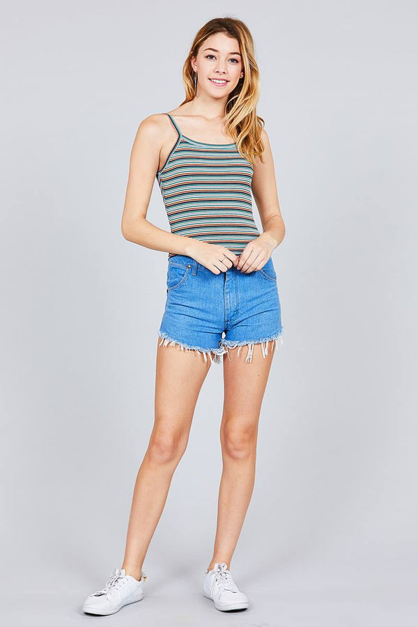 Multi Stripe Rib Cami Crop Top - Elite5999.com
