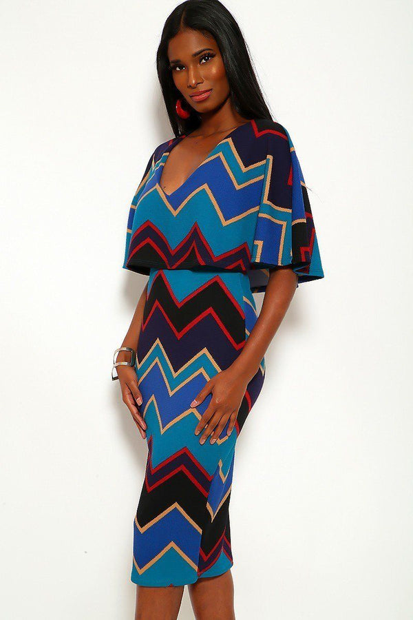 Chevron Print Midi Dress With Over The Shoulder Ruffle And V-neck - Elite5999.com