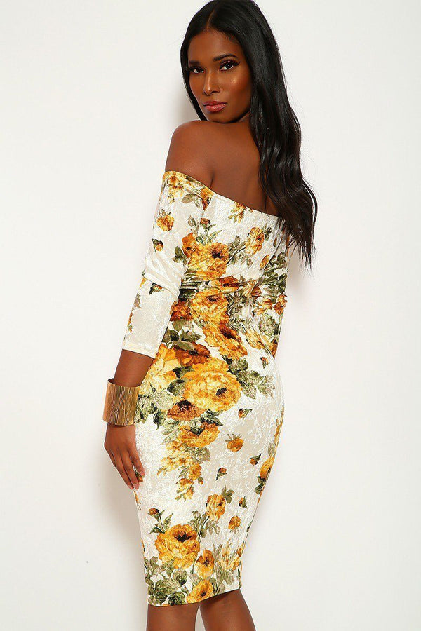 Crushed Velvet Floral Midi Dress With 3/4 Sleeves, Off The Shoulders Neckline And Keyhole In Bodycon Fit - Elite5999.com