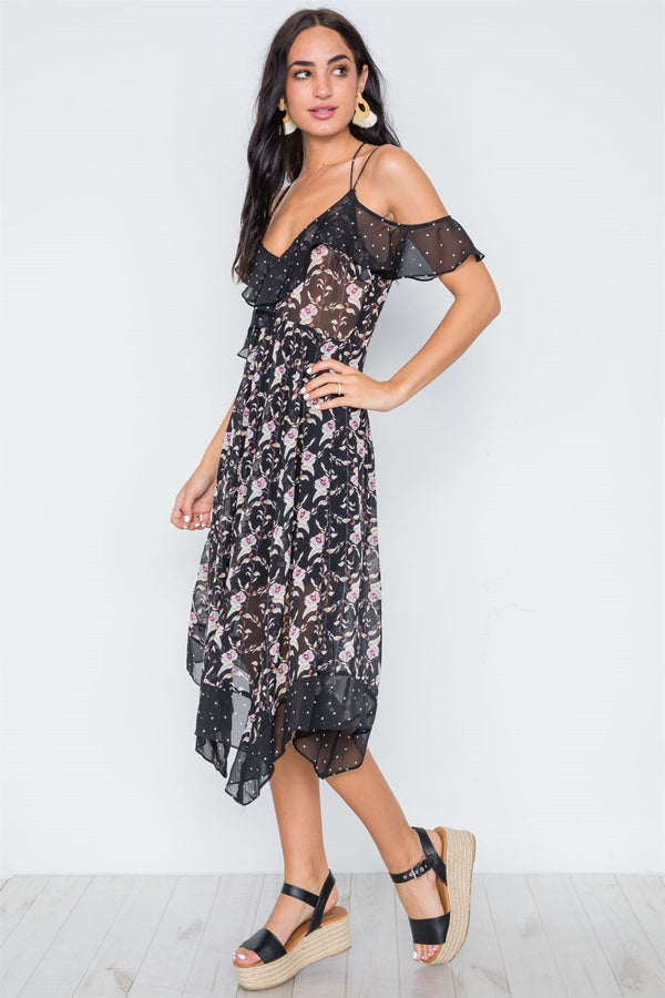 Multi Floral Polka Dot Print Flounce Midi Dress - Elite5999.com