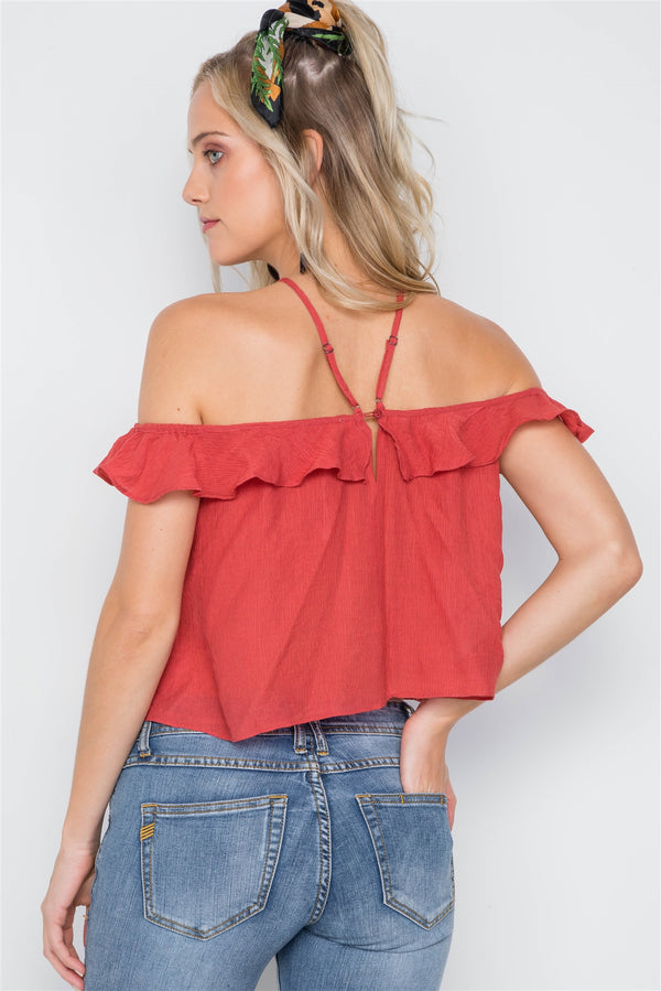 Ruffle Layer Halter Top - Elite5999.com