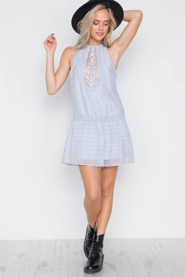 Steel Blue Stripe Pattern Crochet Trim Mini Dress