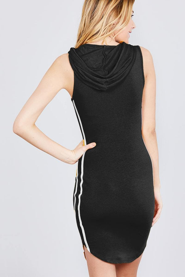 Sleeveless W/side Stripe Drawstring Hoodie Cotton Rayon Spandex Mini Dress - Elite5999.com