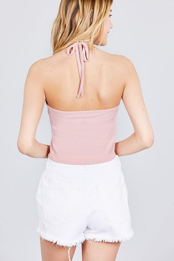 Halter Neck Cotton Spandex Rib Crop Top - Elite5999.com