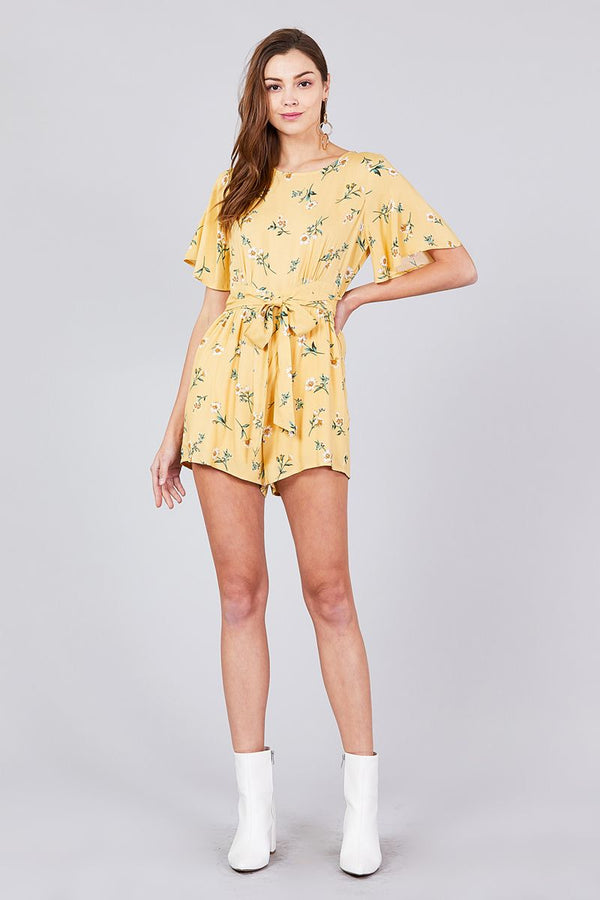 Bell Short Sleeve Back Open Waist Belt Print Romper - Elite5999.com