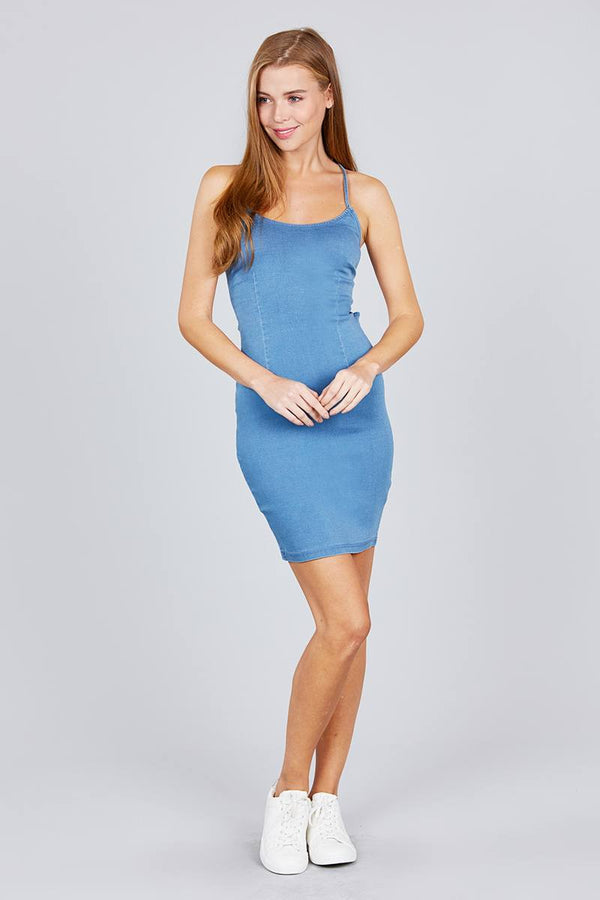 Low Cut Scoop Neckline Back Open W/strappy Denim Mini Dress - Elite5999.com