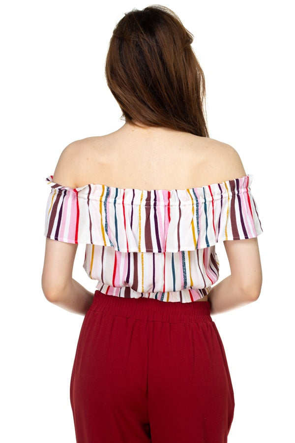 Multi-color Stripe Off Shoulder Top - Elite5999.com