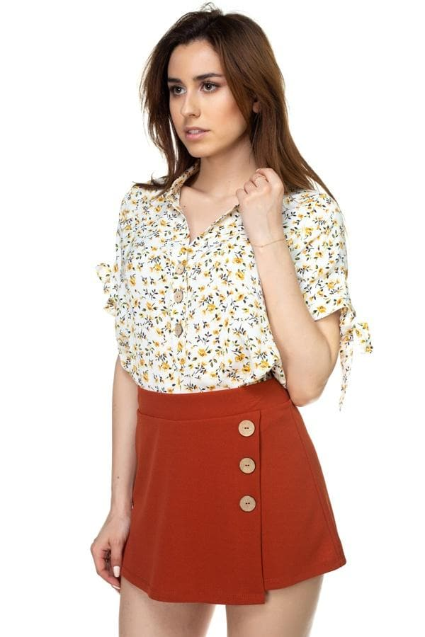 Short Sleeve Floral Ditsy Print Shirt - Elite5999.com