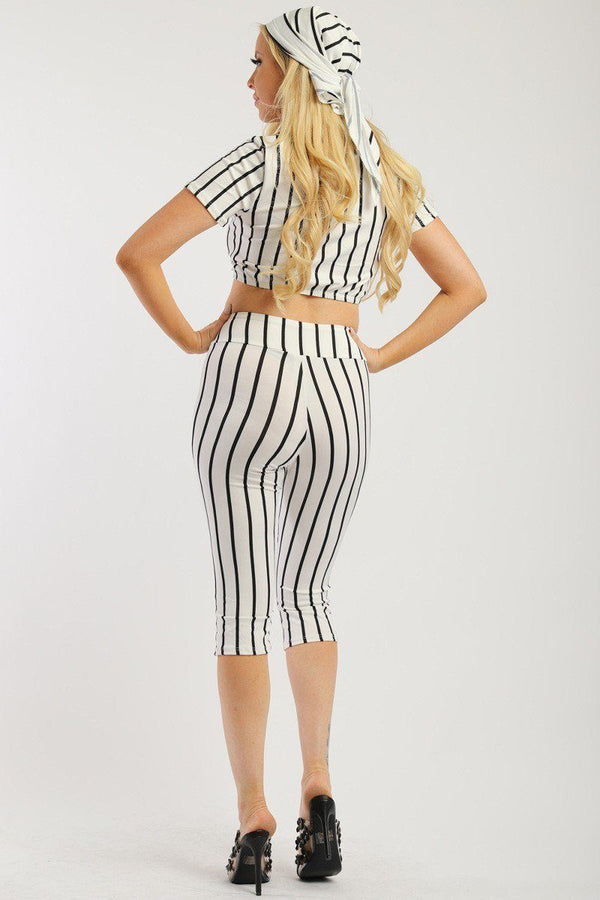 Pin Striped, 3 Piece Top, Capri Legging And Scarf Set - Elite5999.com