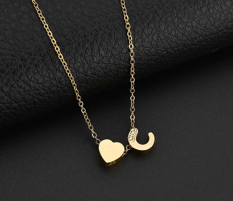 A-Z Heart Initial Stainless Steel Necklace