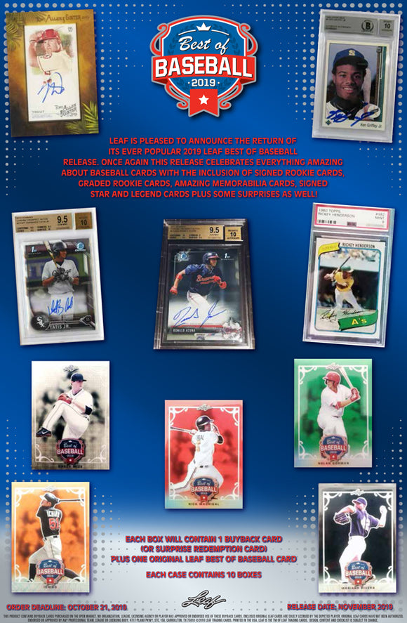2019 Leaf Best of Baseball 2 Box Random Divisions #1 - Major League Cardz