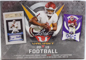 2019 Leaf Valiant Football Hobby Box Random Serial # Break - 4 auto's w/ 1 BGS 9.5+ #2 - Major League Cardz