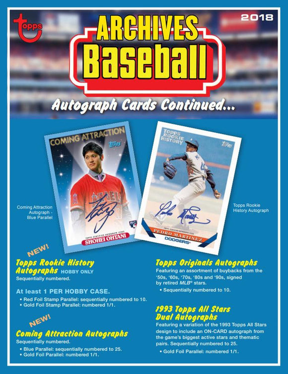 2018 Topps Archives Baseball Hobby Box Personal Break - Ripped & Shipped! - Major League Cardz