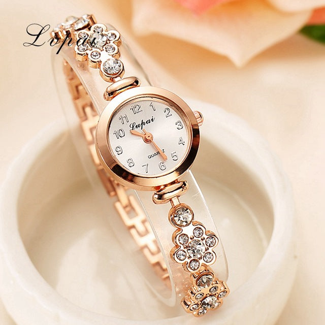 Lvpai Brand Fashion Watch Women Luxury Rose Gold Bracelets Wristwatch Crystal Quartz Business Women Dress Casual Watch XR717
