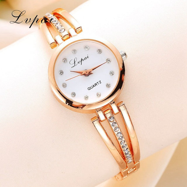 New Lvpai Fashion 2017 Luxury Rhinestone Watches Women Stainless Steel Quartz Watch For Ladies Dress Watch Gold Bracelet Clock