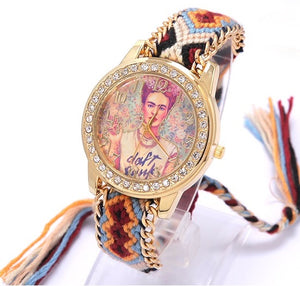Rainbow Geneva Watch Women vintage hippie Mexican Rhinestone Style dial Fridas Fashion wristwatch Lace Chain Braid Reloj