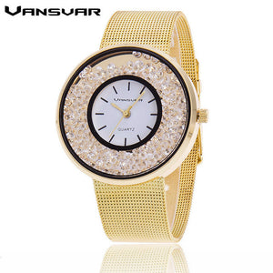 Fashion Stainless Steel Gold & Silver Mesh Band Quartz Wtach Luxury Women Rhinestone Watches Valentine Gift 1900