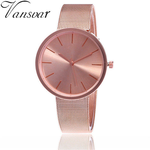 Vansvar Brand Fashion Silver And Rose Gold Mesh Band Wrist Watch Casual Women Quartz Watches Gift Relogio Feminino V69