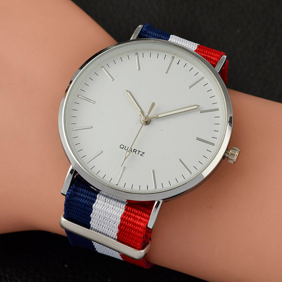 2017 New Casual and Fashion Quartz Watch with Multicolor Nylon Cloth Watchband Wristwatch Simple Designer Women Clock Orologio