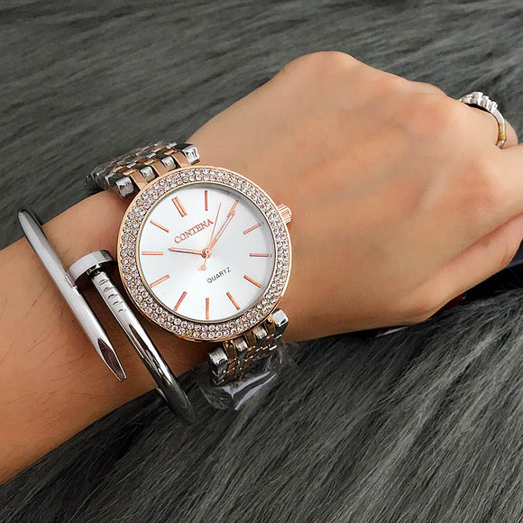 2017 Relogio Feminino Luxury Brand Contena Women Dress Watches Steel Quartz Watch Diamonds Gold Watches For Womans Wristwatches