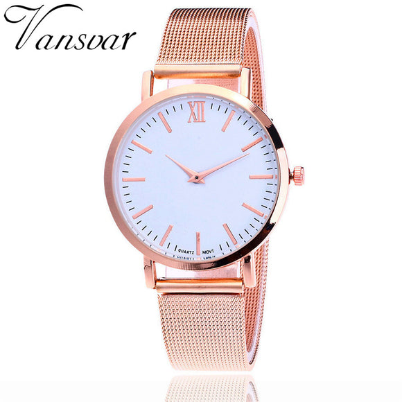 2017 Vansvar Fashion Silver And Gold Mesh Band Simple Dial Wrist Watch Casual Women Quartz Watches Gift Relogio Feminino V72