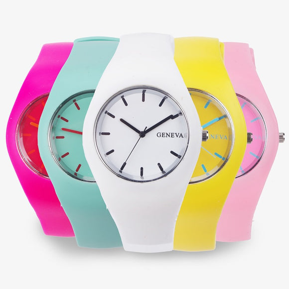 2017 Fashion Cream Color Ultra-thin Fashion Gift Silicone Strap Leisure Watch Geneva Sport Wristwatch Women Jelly Watches