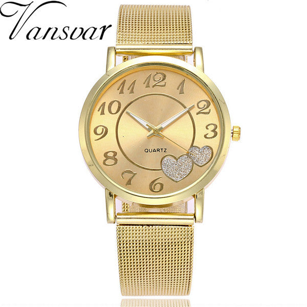 2017 Vansvar Brand Fashion Silver Gold Mesh Band Love Dial Wristwatch Casual Women Quartz Watches Gift Relogio Feminino