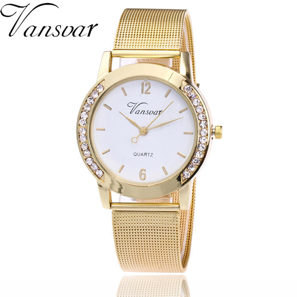 Vansvar Brand Fashion Gold Silver Mesh Band Watch Casual Women Metal Stainless Steel Quartz Watches Relogio Feminino Gift Clock