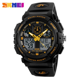 SKMEI Men Sports Watches Digital Double Time Chronograph Watch 50M Watwrproof Week Display Wristwatches Relogio Masculino 1270