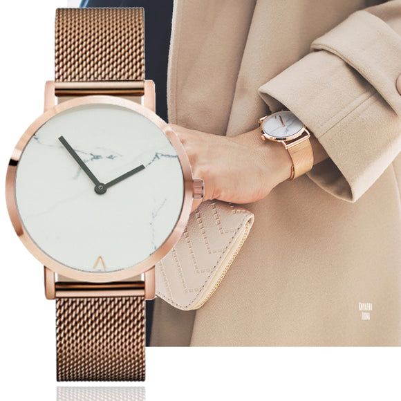 BGG Brand Simple Style Women Quartz Watch Marble British style Texture Lady Quartz Wristwatch Stainless Mesh Strap Watch Women