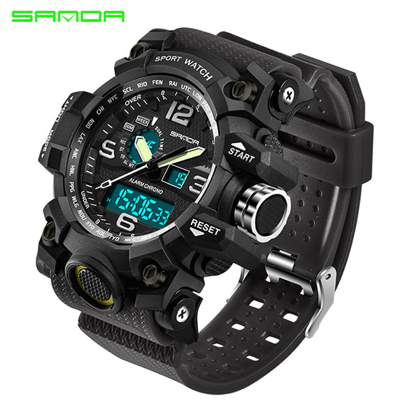 2017 SANDA Men's Military Sport Watch Men Top Brand Luxury Famous Electronic LED Digital Wrist Watch Male Relogio Masculino 742