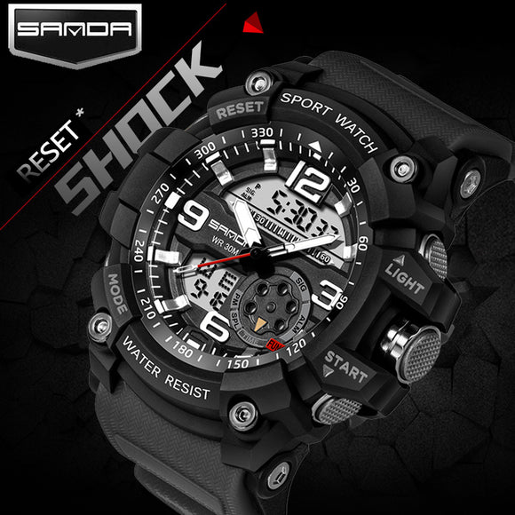 2017 SANDA Dual Display Watch Men G Style Waterproof LED Sports Military Watches Shock Men's Analog Quartz Digital Wristwatches